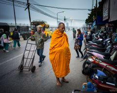 market In Pai with monk
