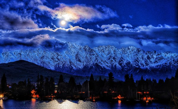 Moonrise over Queenstown New Zealand